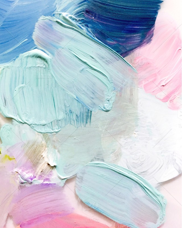 Detail Of Artist's Pretty Pastel Paint Palette Smears And