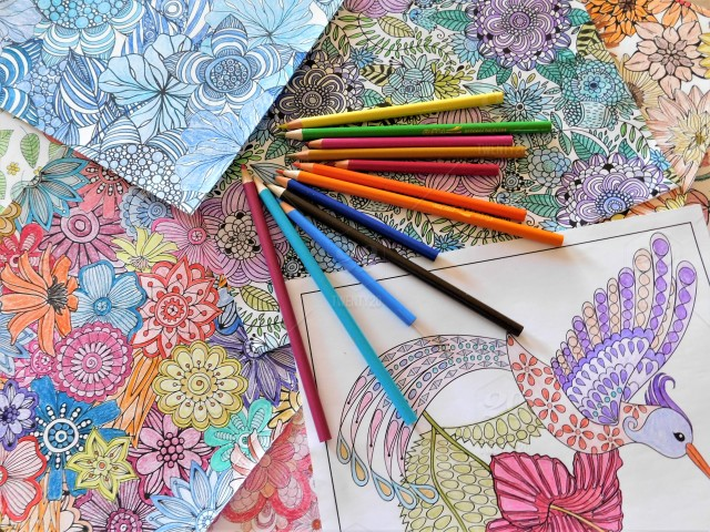 Paper Flowers And Birds Adult Coloring Pages Of Flowers And A Hummingbird Are Colored With Color Pencils Stock Photo A9e6c6f2 5dcf 4408 8264 B46c2f269293