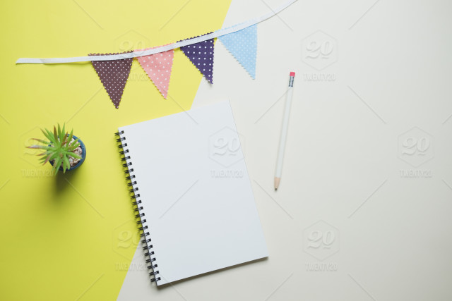 Creative Flat Lay Photo Of Cute Workspace Desk With Notebook