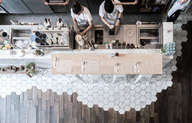Top Down View Of Coffee Counter