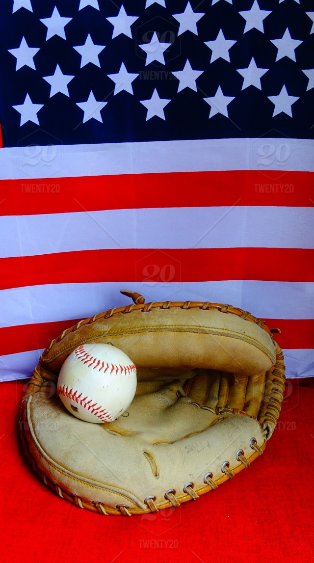 Baseball- America s favorite sport! American flag stock photo ... a35c1e89e10