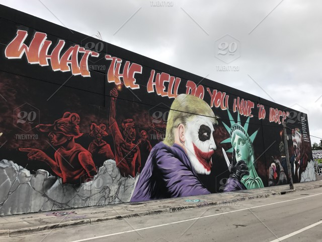 Donald Trump X Joker Mural In Wynwood Miami Fl Stock Photo