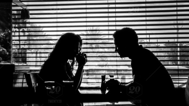 Silhouette, Light, Sitting, Black-And-White, Couple, Love, Girl, Boy, Talking, Date -7527