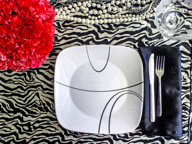 Pink, black, plate, animal-print, table, zebra-print, flowers, table ...