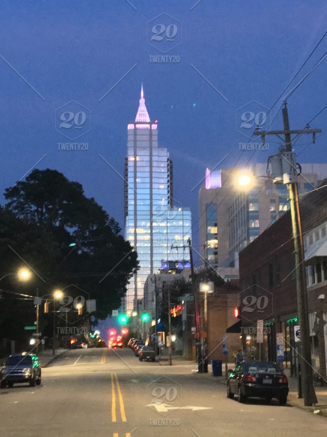 Raleigh, North Carolina's PNC building as seen from the warehouse