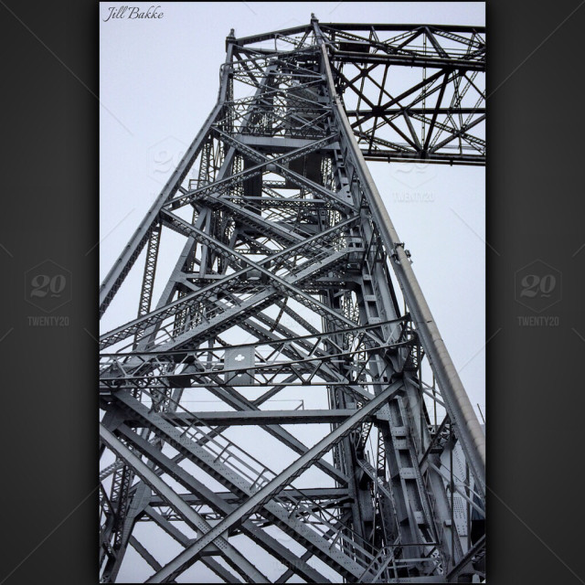 Up Close Of The Aerial Lift Bridge In Duluth Minnesota Stock Photo