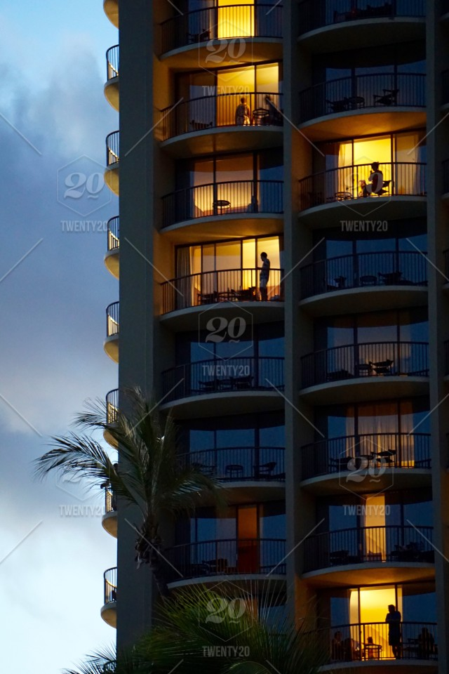 People Looking Out Of Hotel Condo Building At Night With Palm Tree Stock