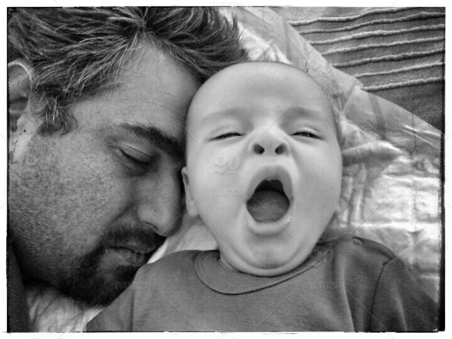 Adult Black And White Sleeping Baby Tired Yawn Funny Rest Sleep Health Stress Overwhelmed Father And Son Exhausted Burnout Burned Out Burnt Out Stock Photo B93ead8a 81f8 4cf4 A357 85ecbd91dc68