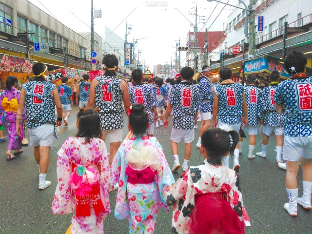 stock photo, people, traditional, summer, japan, exotic, kimono, festival, matsuri, yukata