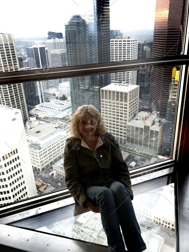 View From Glass Bottom Floor In Calgary Tower Stock Photo