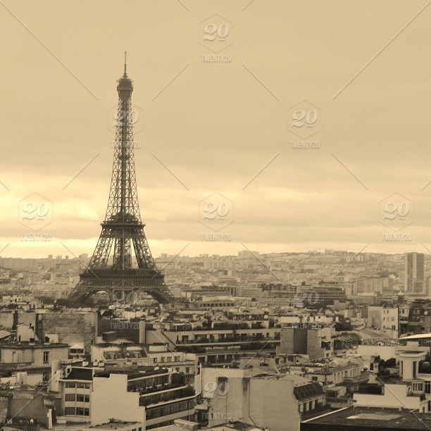 Sepia Coloured Panorama Of Paris From The Top Of Notre Dame