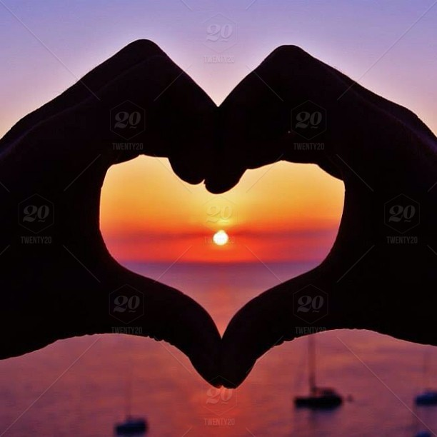 The Beautiful Sunset Ibiza Offers Every Day Love Heart Hands As A