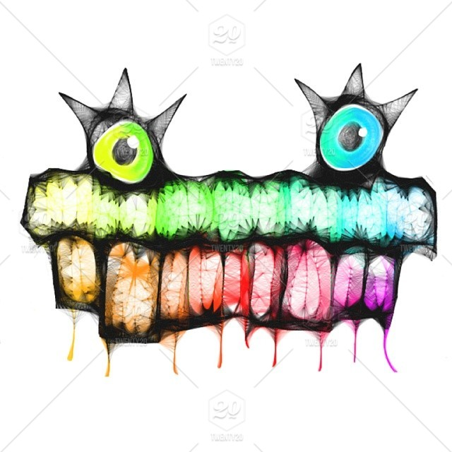 Colorful Rainbow Abstract Art Drawing Sketch Monster Original