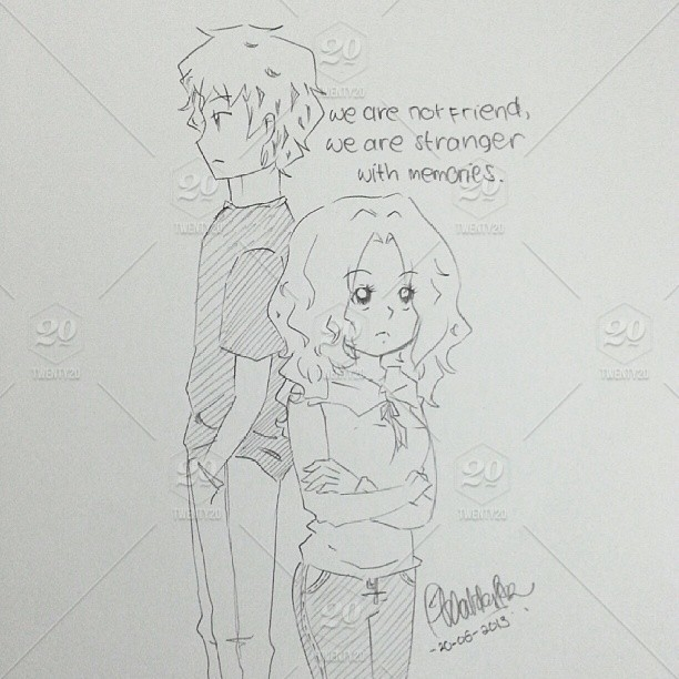 Stranger with memories art sketch ex love girl boy pencil draw