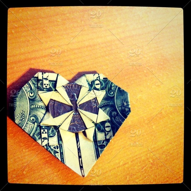Origami Dollar Heart --with a state quarter-- by ThePurpleRat on | 612x612