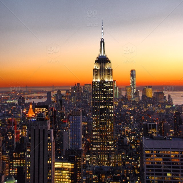 Sunset view of the Empire State Building and Freedom Tower, taken ...