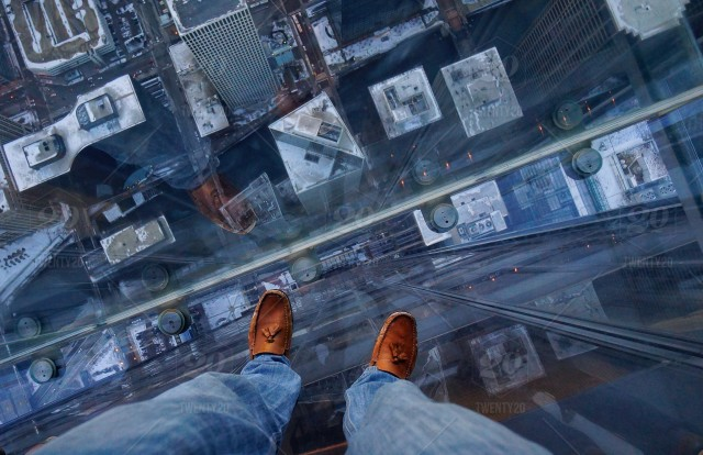 stock photo, daytime, outdoors, view-from-above, urban-scene, city, architecture, building, building-exterior, part-of, people, men, one-person, aerial-view, cropped, adult, male, street, love, glass, low-section, modern, height, chicago, shoes, legs, feet, fall, above, man, stand, suicide, skydeck