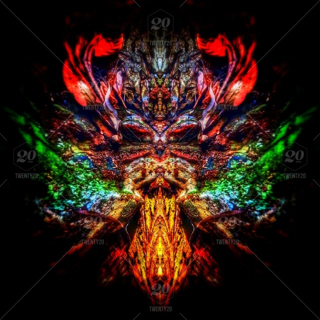 Blue Colorful Red Green Abstract Art Head Symmetry