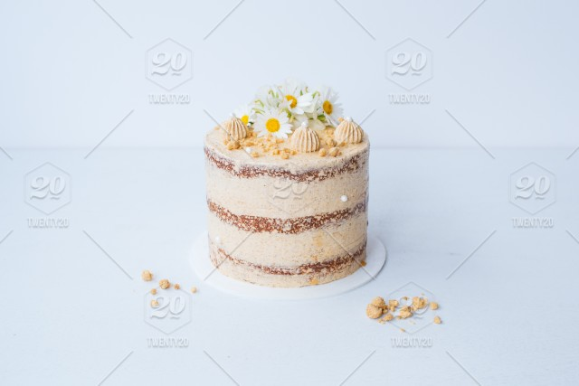 Apple Pie Layer Cake With Fresh Flowers Stock Photo 9faff568 1b93