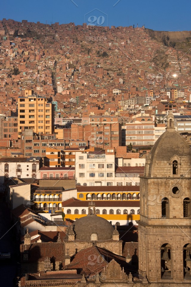 The overcrowded city of La Paz in Bolivia, South America. stock photo on