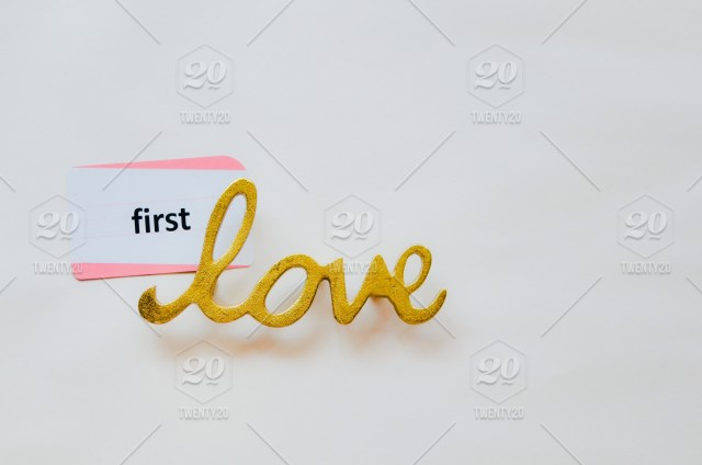 First love  Flash card, site word, gold, metal, lay flat, white