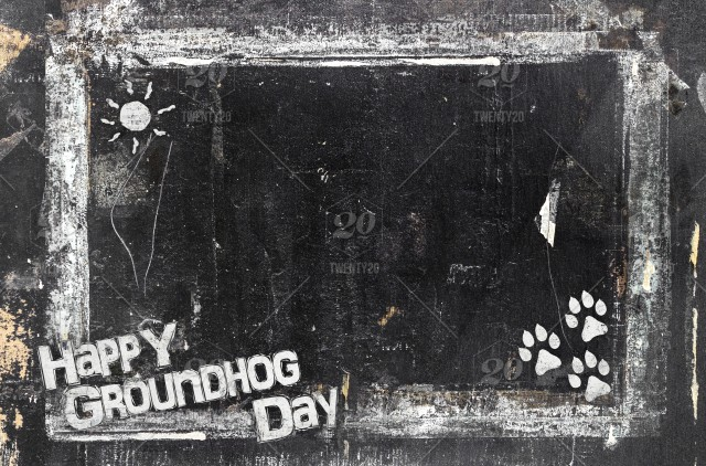 Groundhog Day Blackboard In Grunge Style Scratched And Ruined