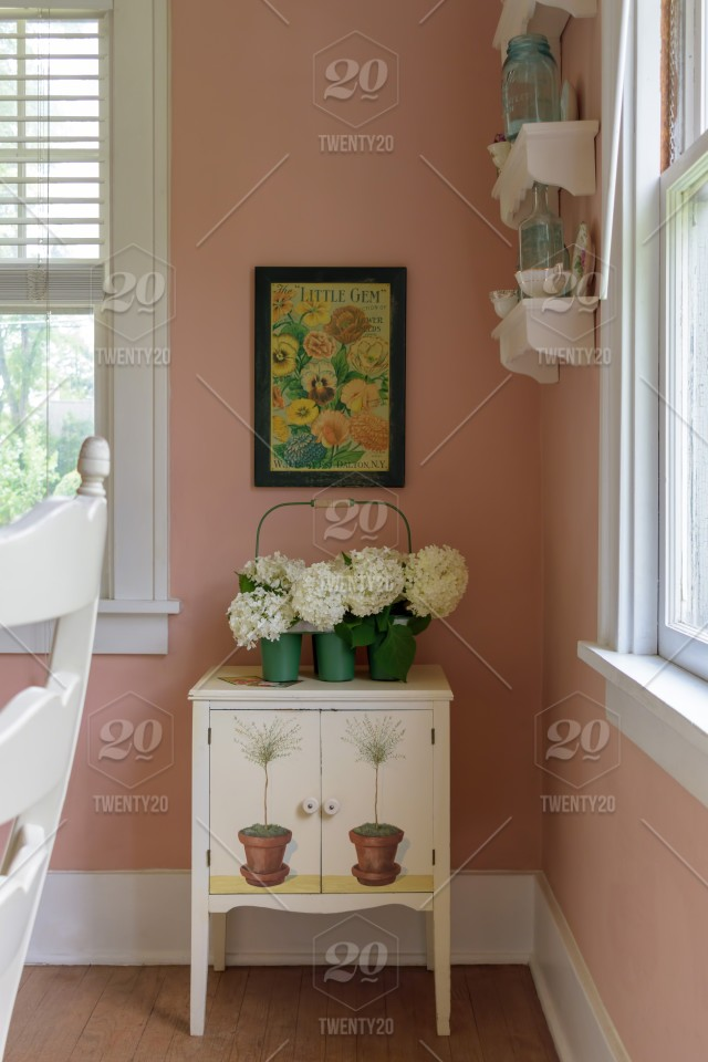 Stock Photo Pink Dining Room Decor Vintage Interior Home