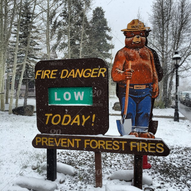 Smoky the Bear helping to prevent forest fires in Breckenridge