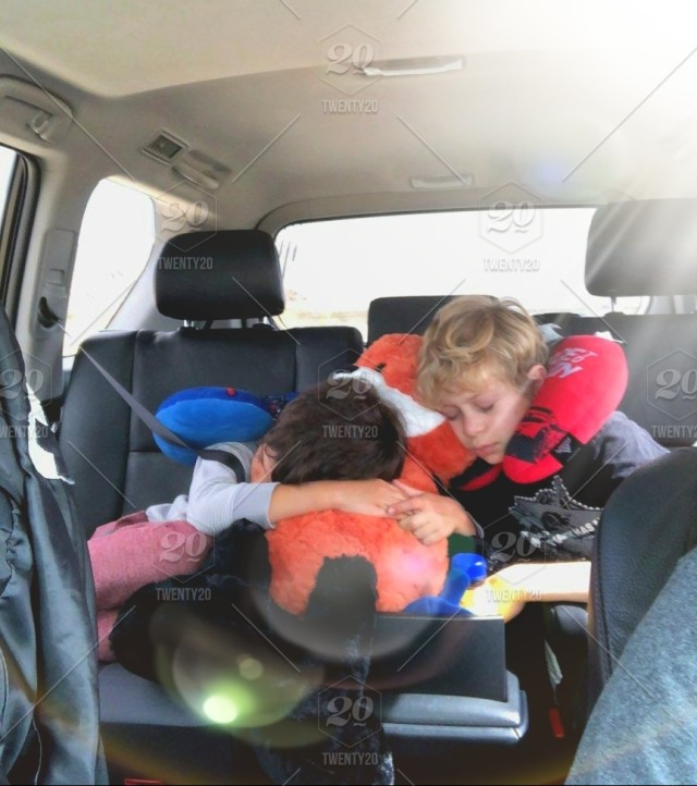 People Sleeping Riding In Cars! Two Young Boys Asleep In