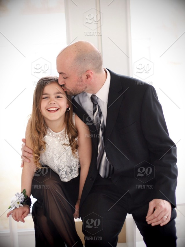 Daddy Daughter Dance Dad Kissing Daughter Stock Photo
