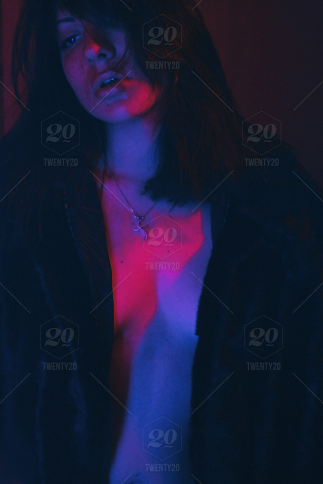 Stock Photo Pink Blue Lips Neon Body Hot Passion
