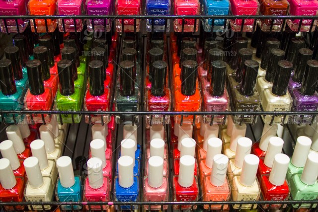 ✨NOMINATED✨ Multi-colored nail polish in the range, standing on ...