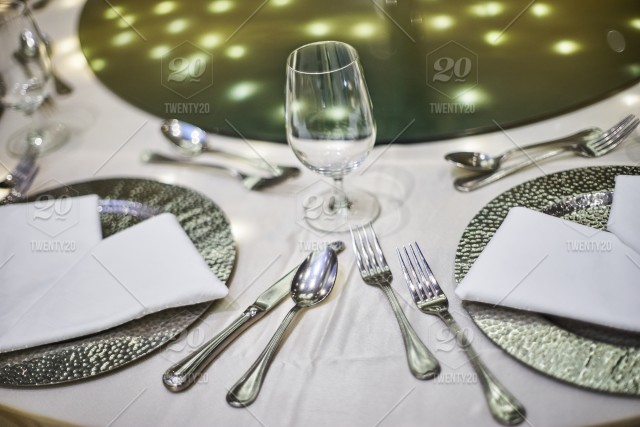 The Closeup Shot Of Wedding Reception Dinner Table Setup With The