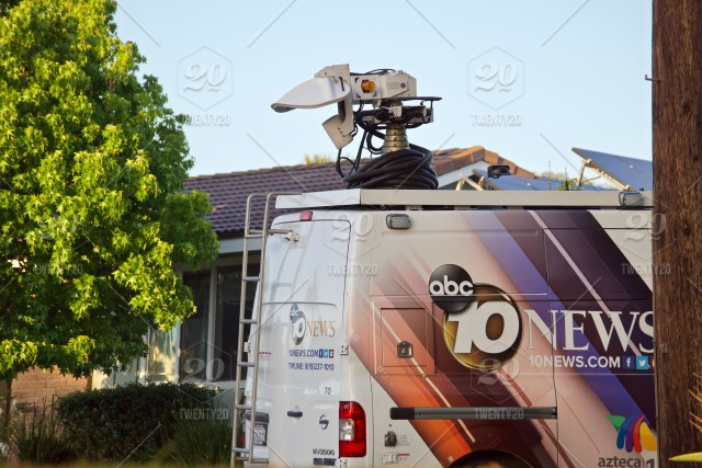 ABC news truck on site for a live report on a local fire