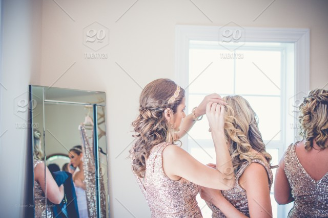 Bridesmaids Getting Ready Stock Photo A23caff7 B240 40a6