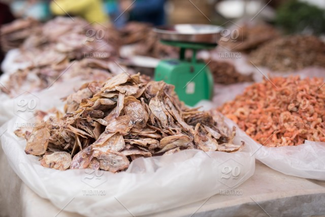 Local stall at an Asian street food market  Dehydrated dried