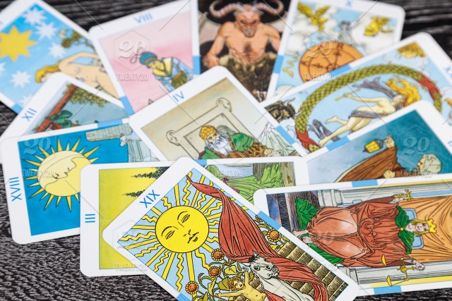 Tarot cards, scattered on the table, top view, flat lay