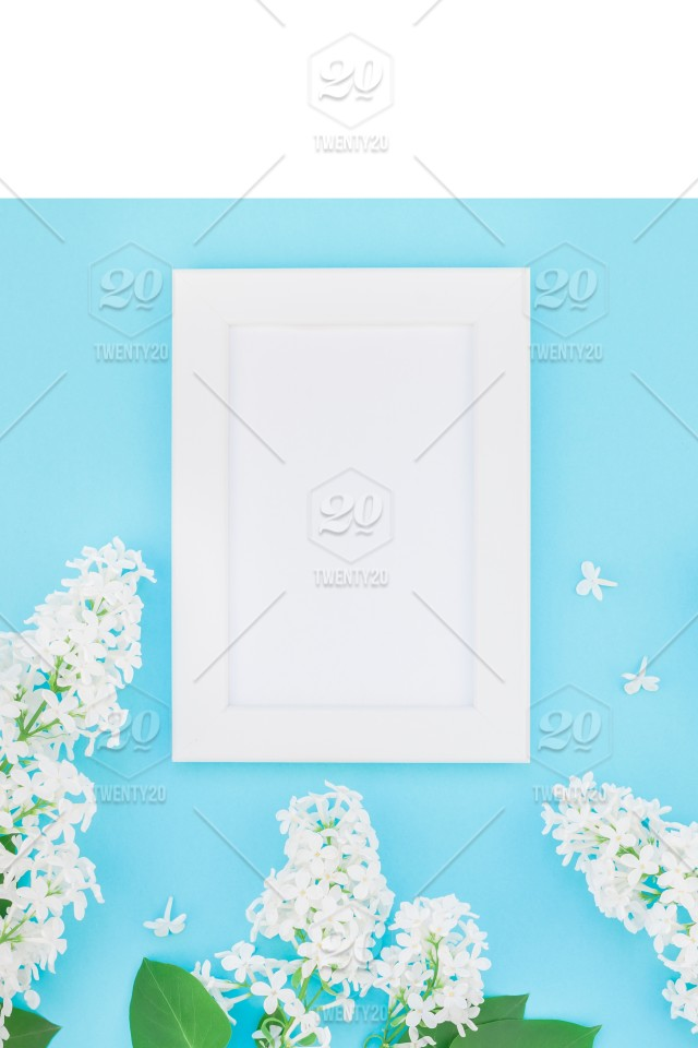Creative flat lay concept top view of blank postcard frame mock up ...