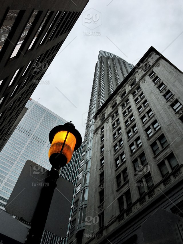 Buildings On Downtown Of Toronto Canada With Street Light