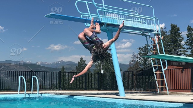 Rolling dive off of diving board at Fairmont Hot Springs stock ...