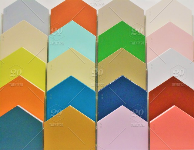 bright and colorful background decorative paint palette samples in house shaped pentagons displayed to choose very bright and colorful or more subdued colors for your next paint project stock photo 8d6011e5 1c01 47ff 8a3f 80101a128e07 8d6011e5 1c01 47ff 8a3f 80101a128e07