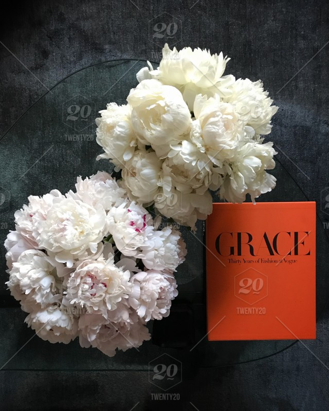 Peonies And Coffee Table Book Stock Photo 8ab94b5f Ce89 4475