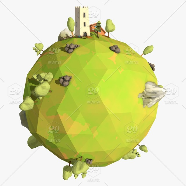 Cartoon Earth Low Poly Style 3D Illustration,3D Model stock
