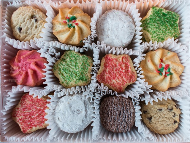Christmas Shortbread Cookies With Sprinkles And Sugar In Box Stock
