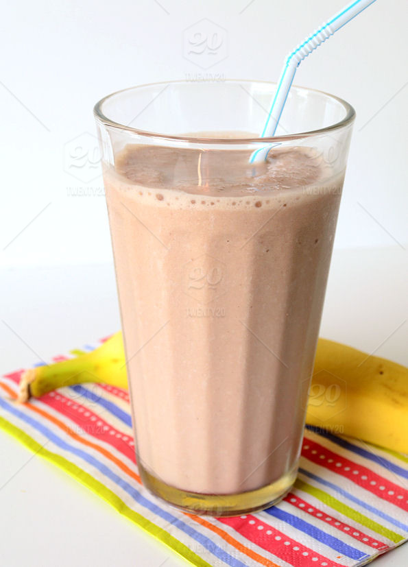 A quick meal or snack of a chocolate Protein Shake and