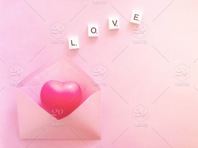 Love Letter Pink Heart And Love Scrabble Tiles In Pink Envelope On