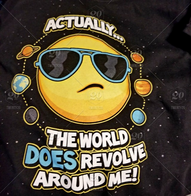 Words in the Wild! The sun emoji on a shirt, says