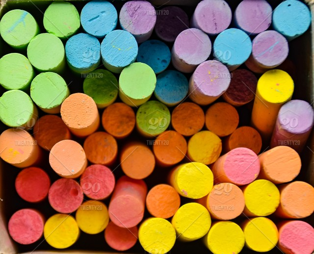 Chalk Writing Board Many Colors Are Used In The Background