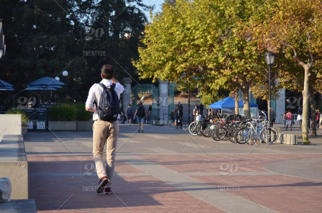 Student walking to class on University of California