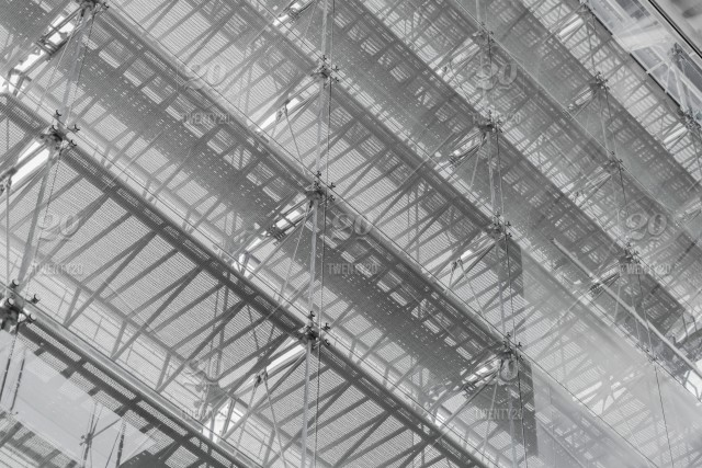Steel Structure Roof Of Office Building Windows Glass Facade